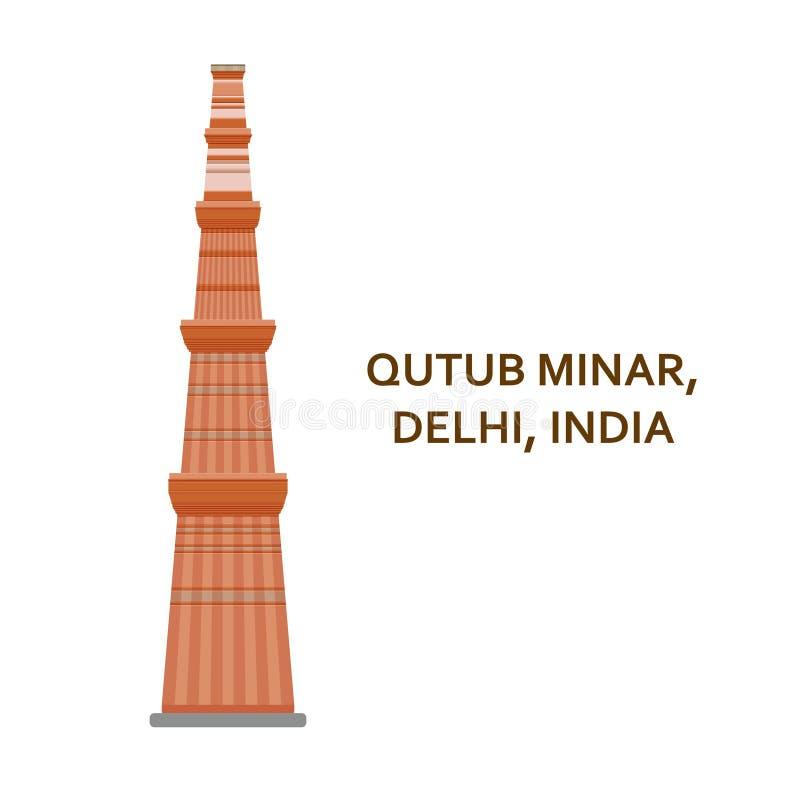 Minar Qutub, Delhi Indisch beroemdste gezicht De architecturale bouw Beroemde toeristische attracties Vector illustratie royalty-vrije illustratie