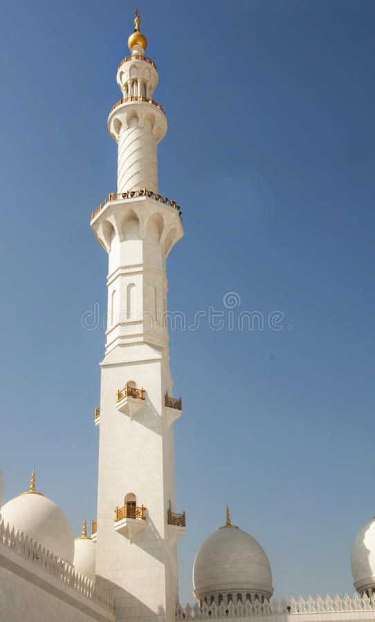 Minar of Sheikh Zayed Moqsue stock images