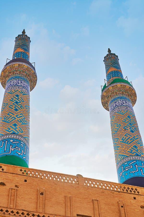 Minaren av den Jameh moskén, Yazd, Iran fotografering för bildbyråer