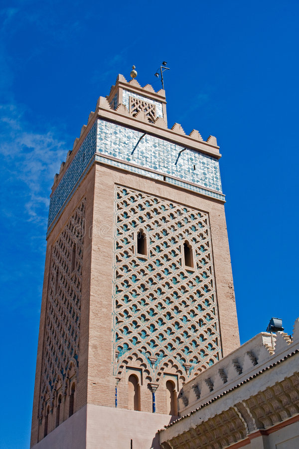 A minaret. Of a morque at Narrakech stock images