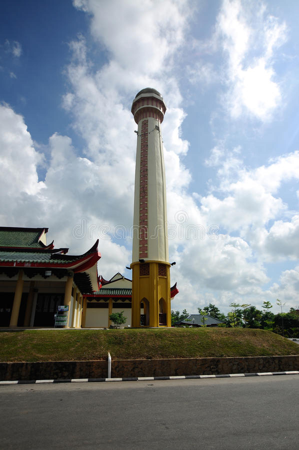 Minaret av Masjid Jubli Perak Sultan Ismail Petra a K A Masjid Peking fotografering för bildbyråer