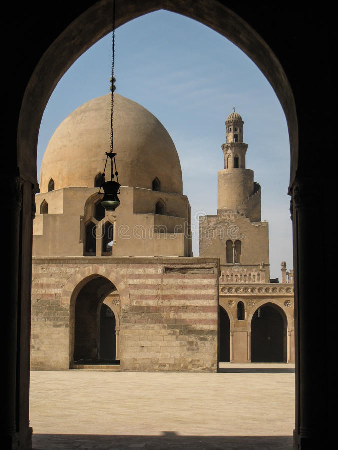 Minaret and central yard. Ibn Tulun mosque. Cairo. Ibn Tulun Mosque in Cairo, Egypt. The oldest and largest mosque in Cairo. s. IX stock photos