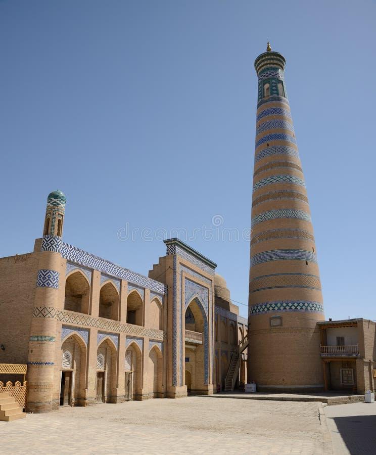 Minaret dans Khiva, Uzbekistan images stock