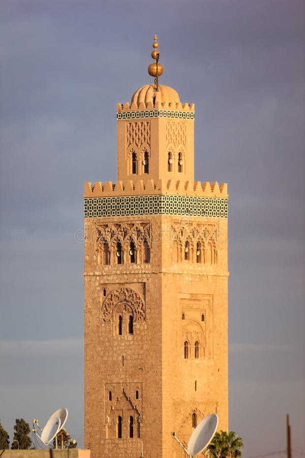 minaret De Moskee van Koutoubia marrakech marokko royalty-vrije stock fotografie
