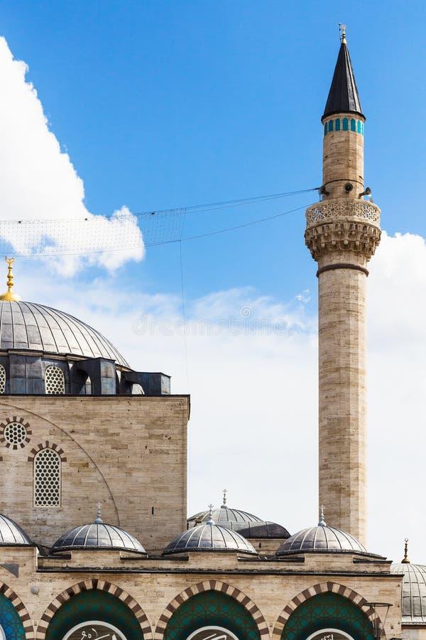 minaret en koepel van Selimiye-Moskee in Konya stock afbeelding