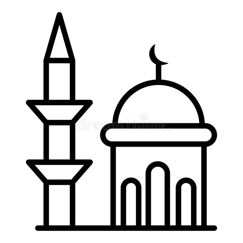 Minaret en koepelmoskeepictogram, overzichtsstijl stock illustratie