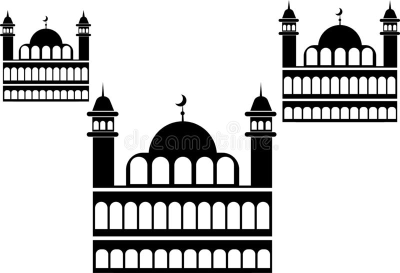 Minaret et Crescent Moon de mosqu?e illustration libre de droits