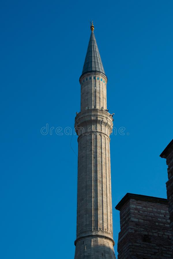 Minaret of Hagia Sophia Church of the Holy Wisdom - Ayasofya. Istanbul, Turkey. November 18, 2019. Minaret of Hagia Sophia Church of the Holy Wisdom - Ayasofya royalty free stock images