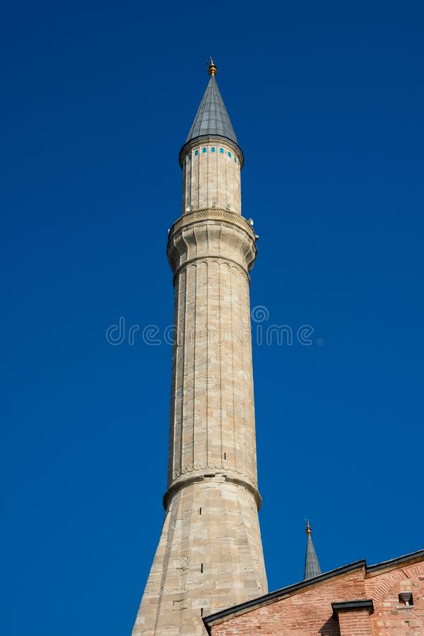 Minaret of Hagia Sophia Church of the Holy Wisdom - Ayasofya. Istanbul, Turkey. November 18, 2019. Minaret of Hagia Sophia Church of the Holy Wisdom - Ayasofya royalty free stock photo