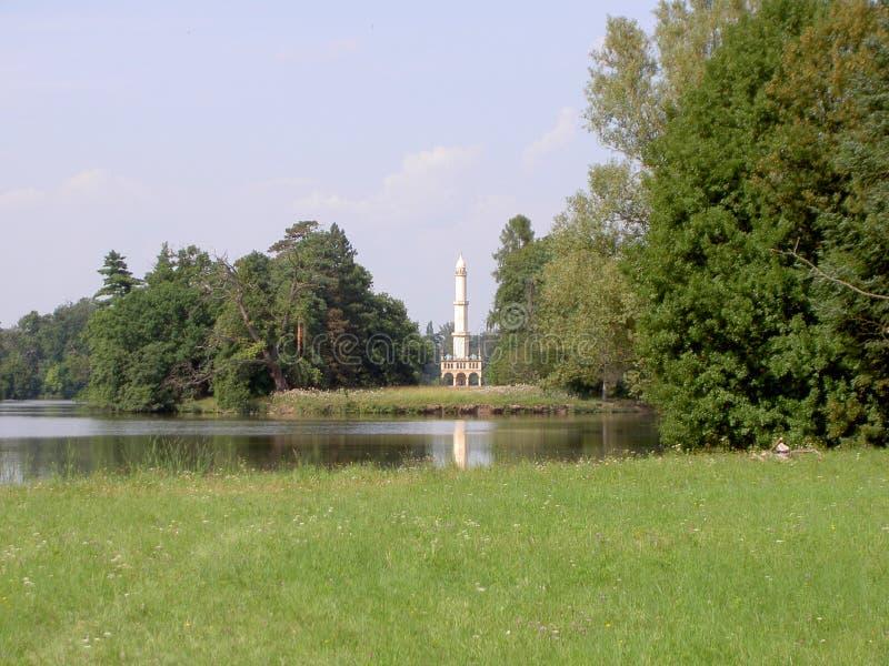 Minaret i det Lednice Valtice området, Tjeckien arkivfoton