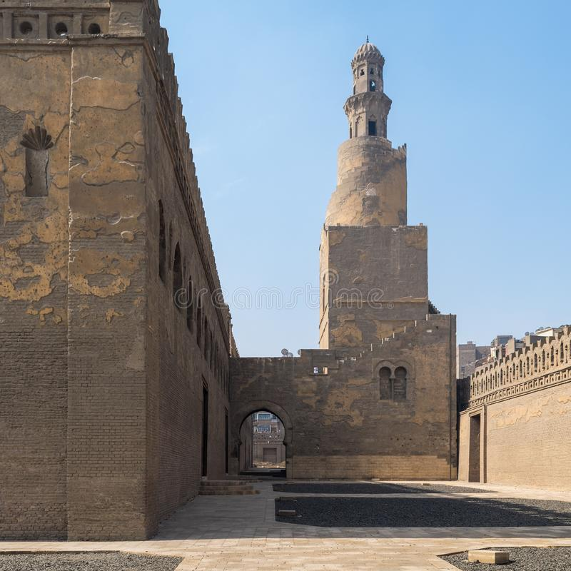 Minaret Ibn Tulun Mosque with helical outer staircase, Medieval Cairo, Egypt. Minaret Ibn Tulun Mosque with helical outer staircase located at Sayyida Zaynab stock image