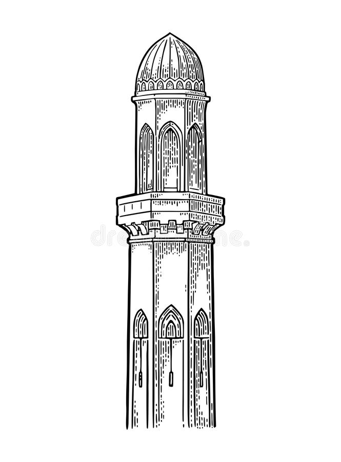 minaret Illustrazione d'annata nera dell'incisione di vettore illustrazione di stock