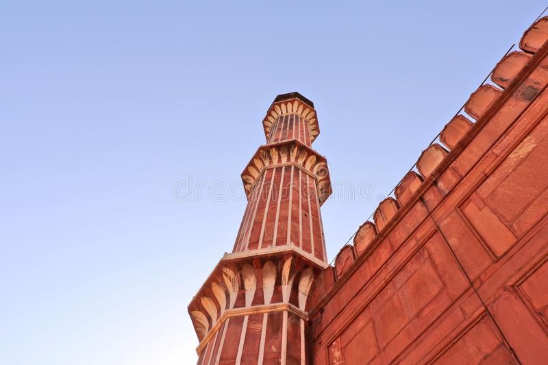 A minaret of Jama Masjid mosque, Old Delhi, India. stock image