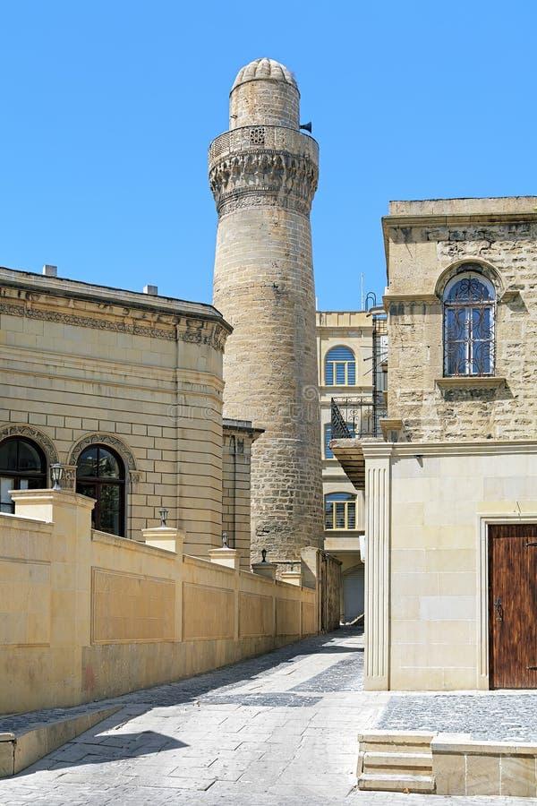 Minaret of Juma Mosque in Baku, Azerbaijan stock photography