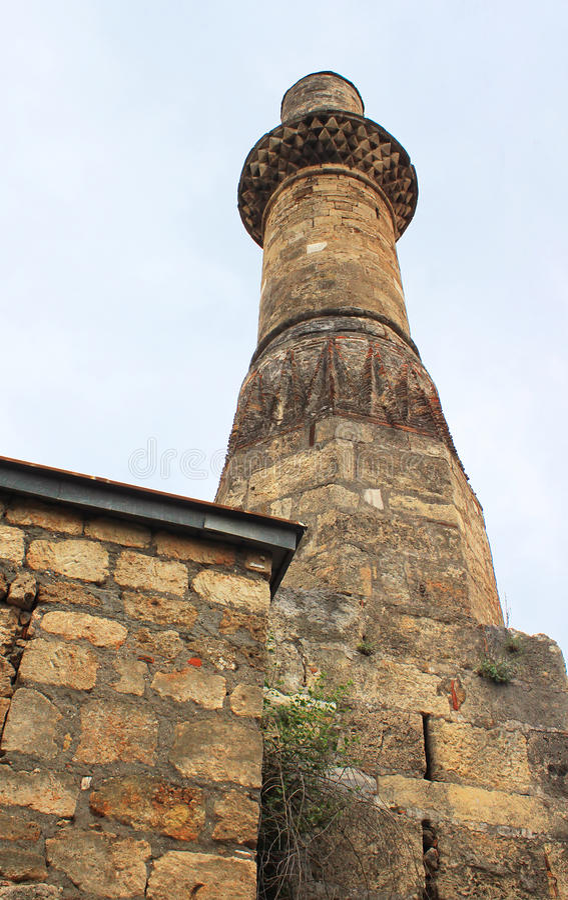 Minaret of Kesik Minare in Antalya, Turkey stock photography