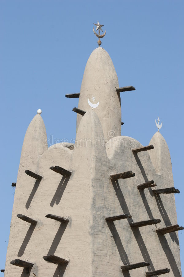 Minaret of a mosk made of mud in Mali stock photos