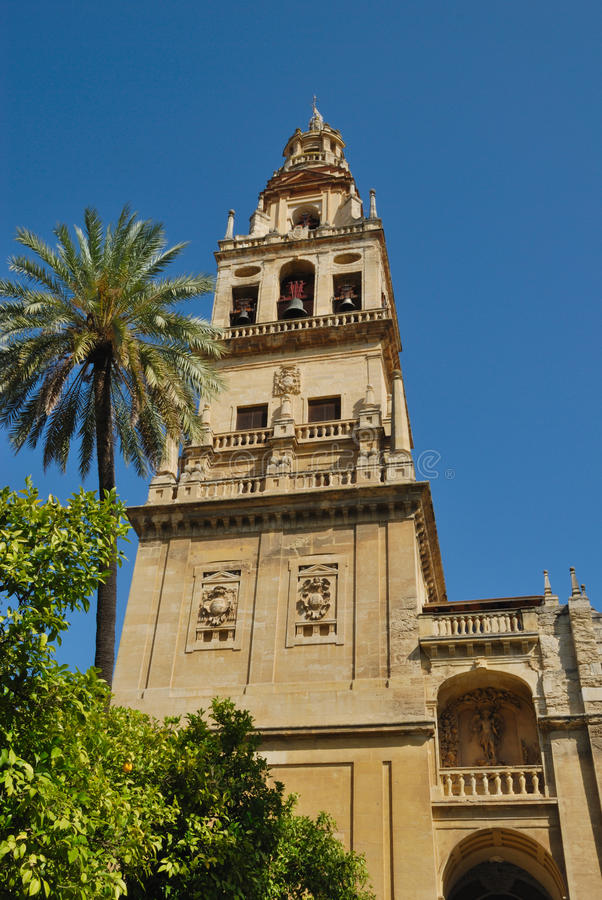 Minaret mosque Cordoba. The Great Mosque -Aljama- of Cordoba, built during the period of Moorish occupation, is the most splendid Islamic monument in the western royalty free stock image