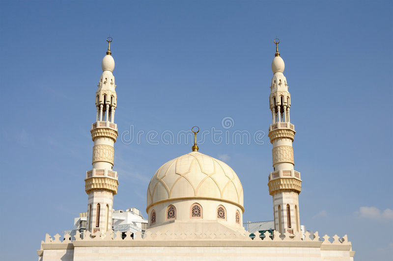 Minaret of a mosque in Dubai royalty free stock photos