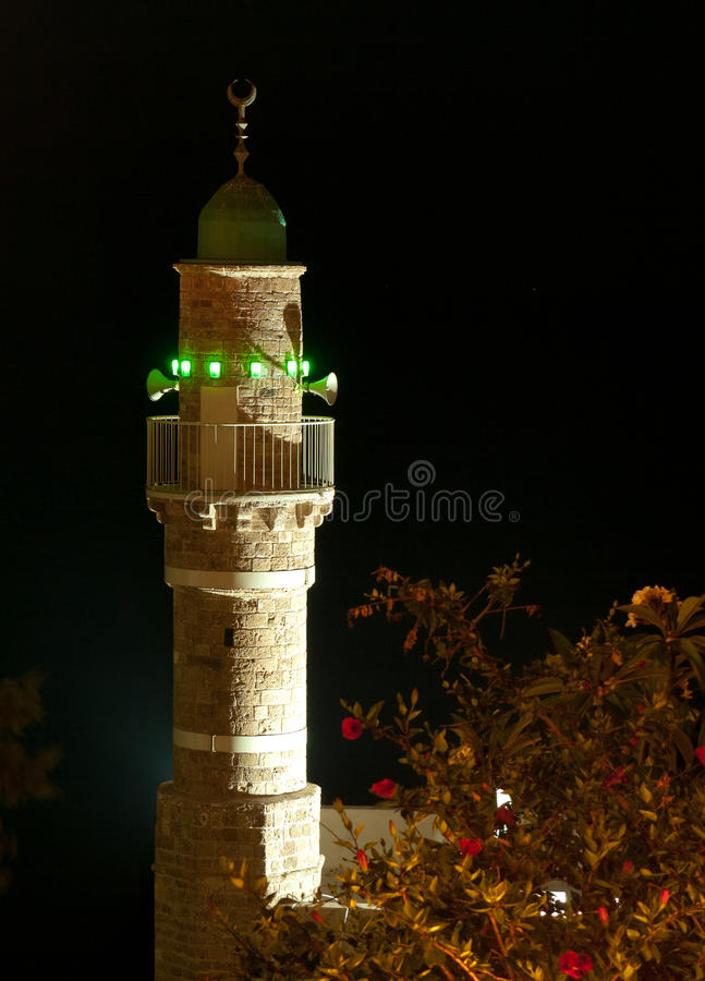 Download Minaret at night stock photo. Image of roof, yaffo, sound - 31928962