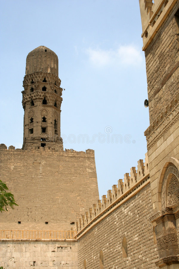 Minaret of old mosque stock photography