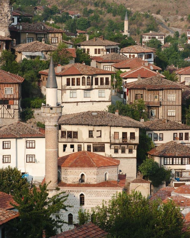 Minaret in Oude Stad Safranbolu, Turkije royalty-vrije stock foto