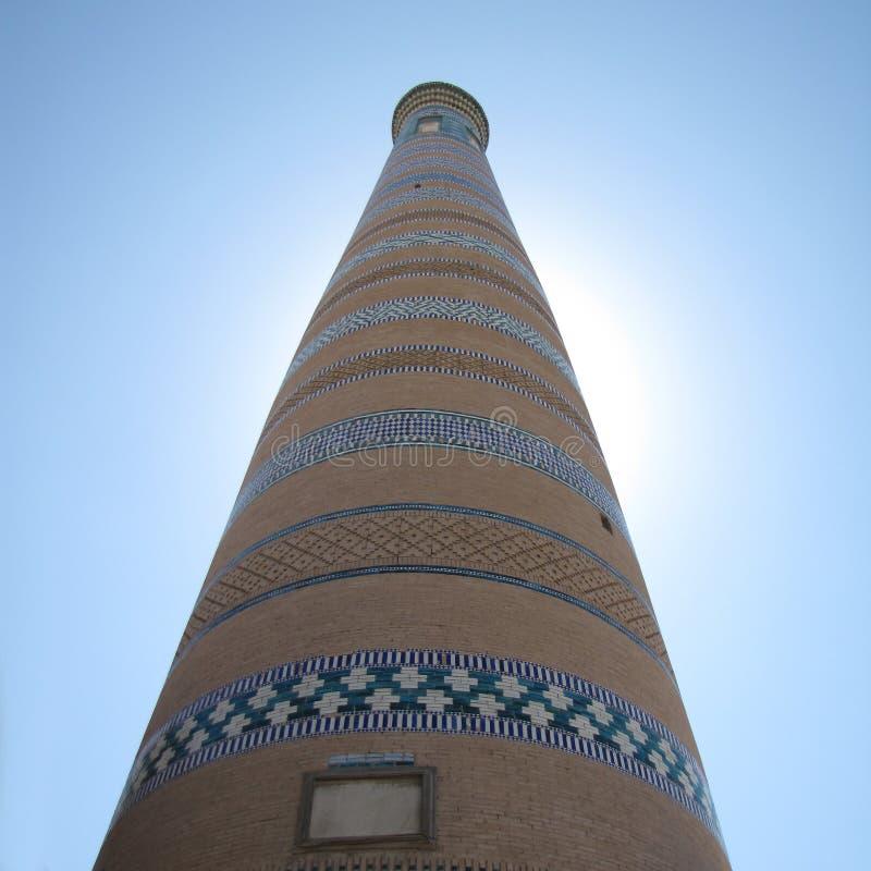 Minaret på khivaen arkivfoton