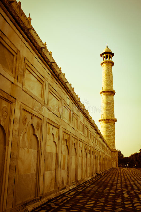 Minaret przy Taj Mahal fotografia stock