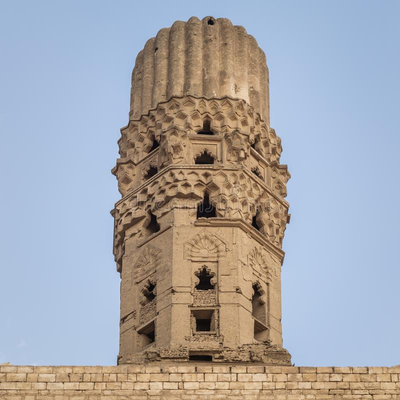 Minaret of public historic Al Hakim Mosque - The Enlightened Mosque, Moez Street, Cairo, Egypt. Minaret of public historic Al Hakim Mosque known as The stock photo