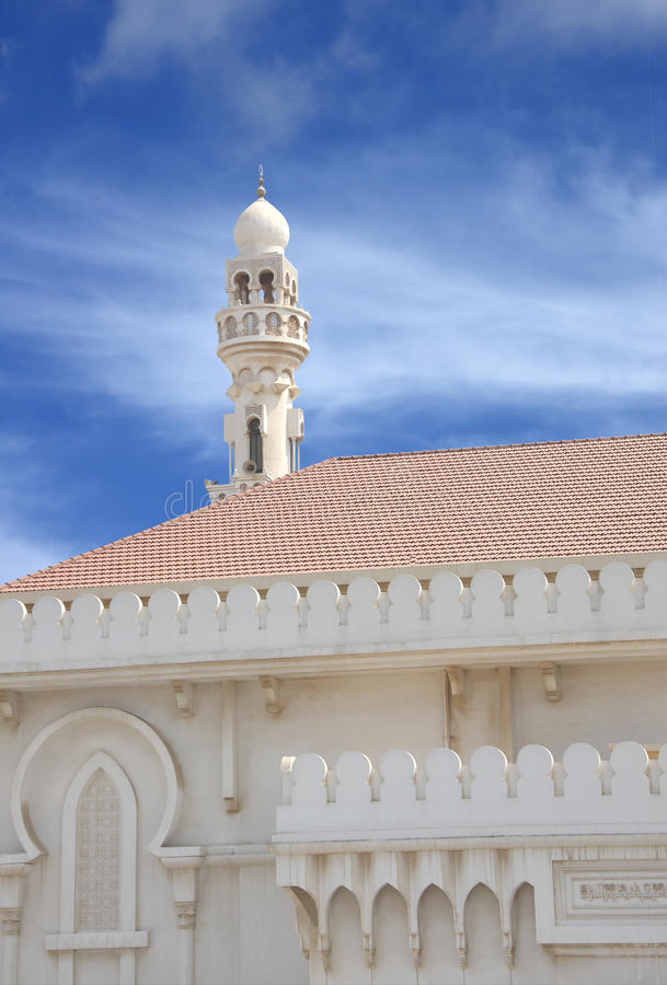 Minaret Of Sheikh Isa Bin Ali Mosque On Blue Sky Stock Images