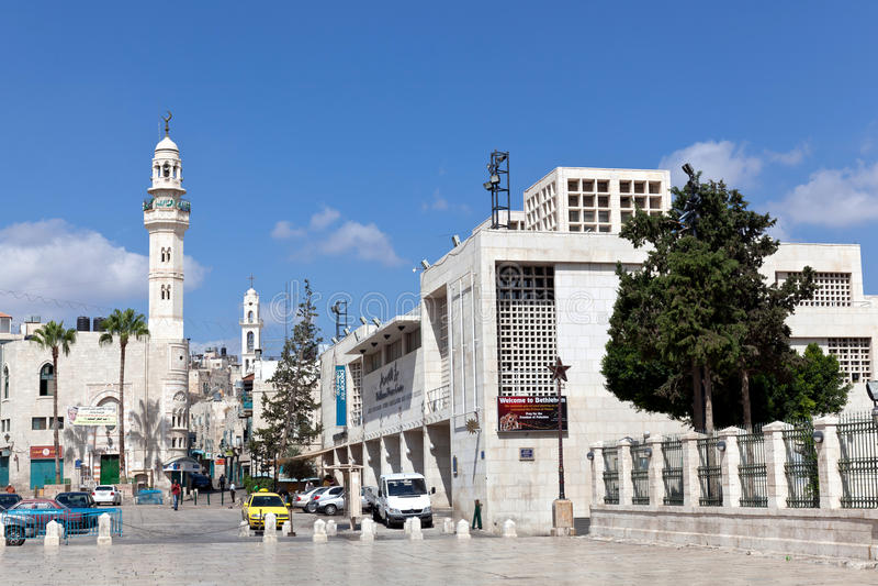 A minaret stands in Manger Square in Bethlehem royalty free stock image