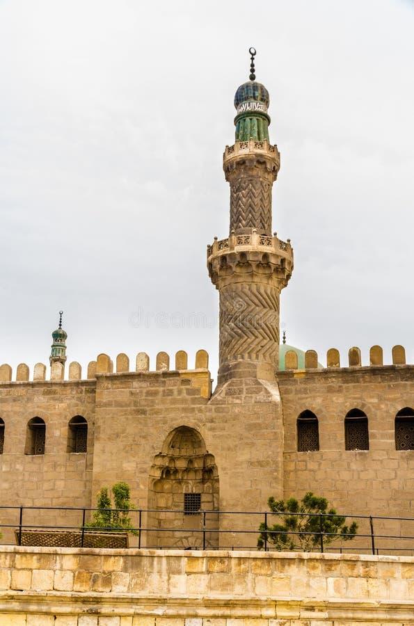 Minaret van Al-Nasir Muhammad Mosque in Kaïro royalty-vrije stock afbeeldingen