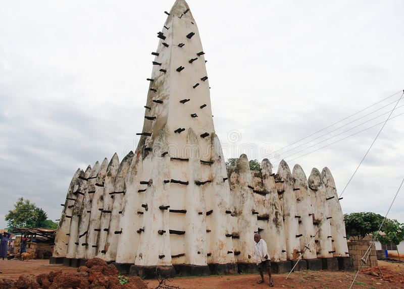 Minaret van een historische kleimoskee in Afrika royalty-vrije stock fotografie