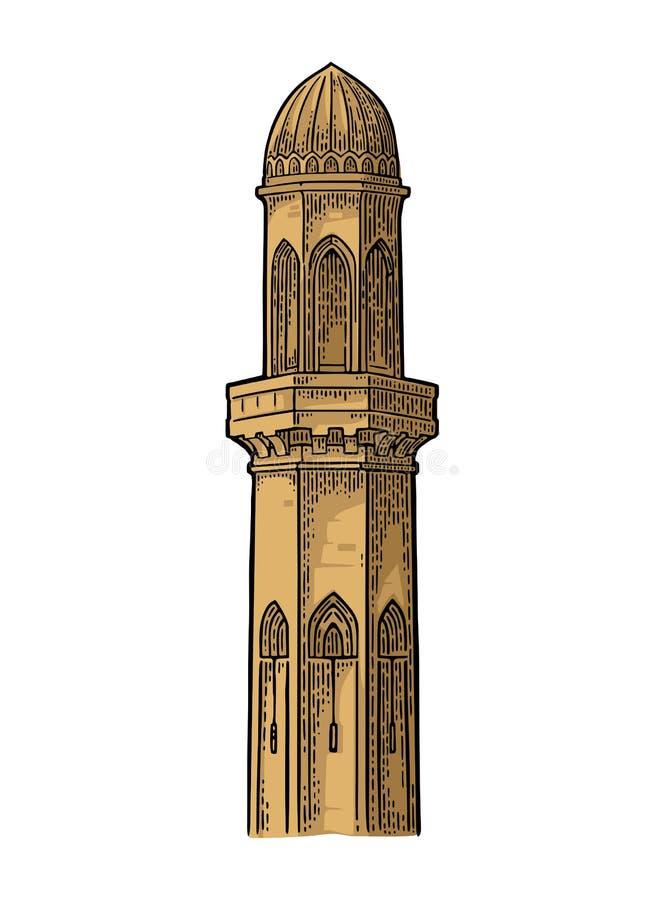 minaret Vector zwarte uitstekende gravureillustratie royalty-vrije illustratie