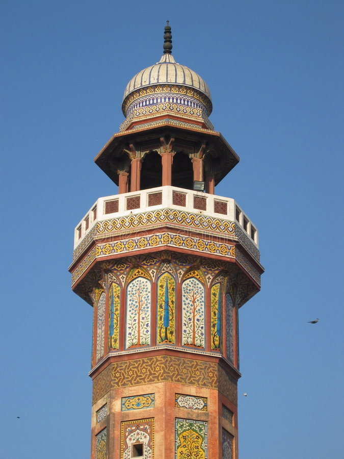 Minaret at Wazir Khan Mosque stock image