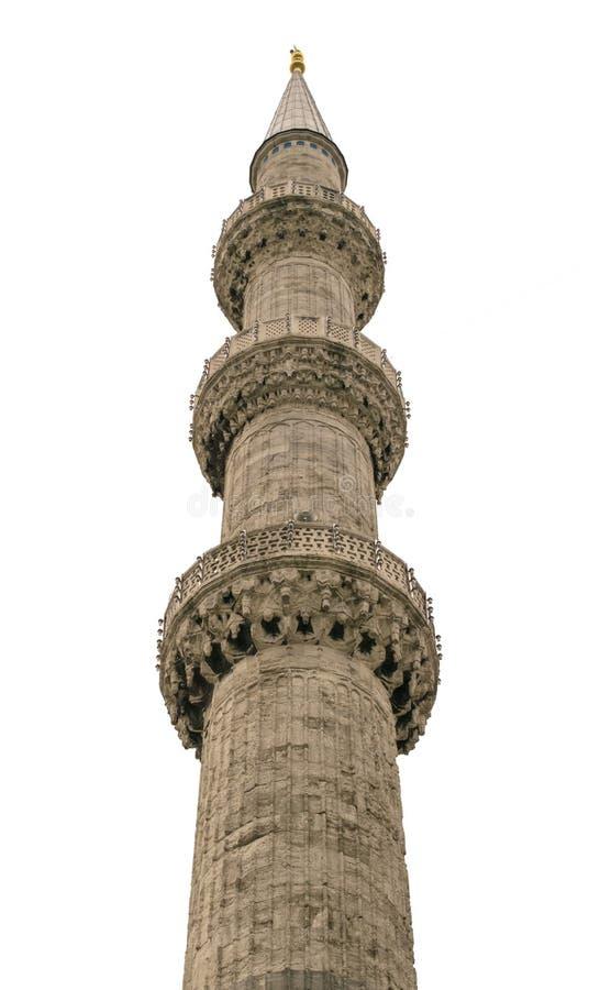 Minarete da mesquita azul da mesquita de Sultanahmet, Istambul, Turquia Isolado no fundo branco fotos de stock