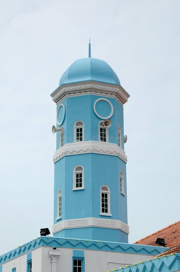 Minarete de Masjid Jamek Dato Bentara Luar em Batu Pahat, Johor, Malásia fotografia de stock