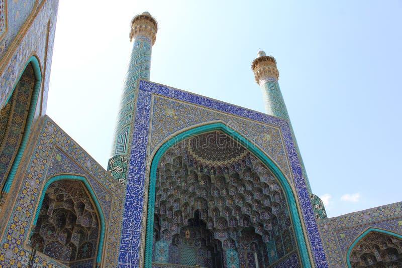 Minaretes da mesquita de Jameh de Isfahan, Irã imagens de stock