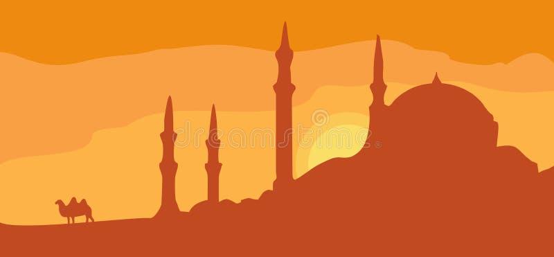 Minareti di panorama e cielo di tramonto con il cammello Illustrazione piana di vettore illustrazione di stock