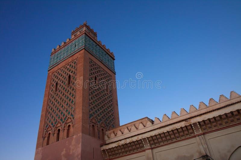 Minareto del kasbah a Marrakesh, Marocco immagini stock libere da diritti