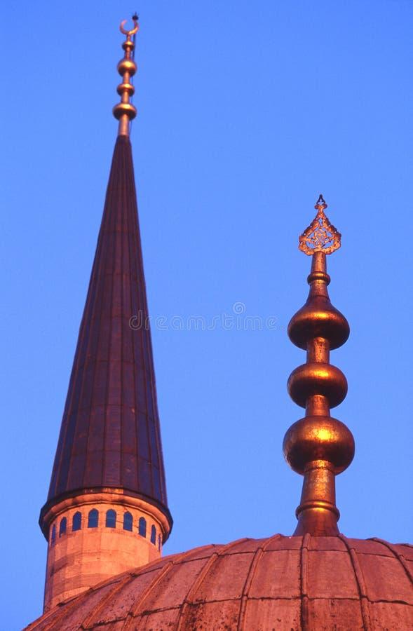 Minareto della moschea blu, Costantinopoli immagine stock
