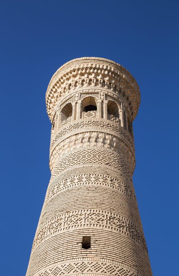 Minaretowy Khoja Kalon w Bukhara zakończeniu zdjęcie royalty free