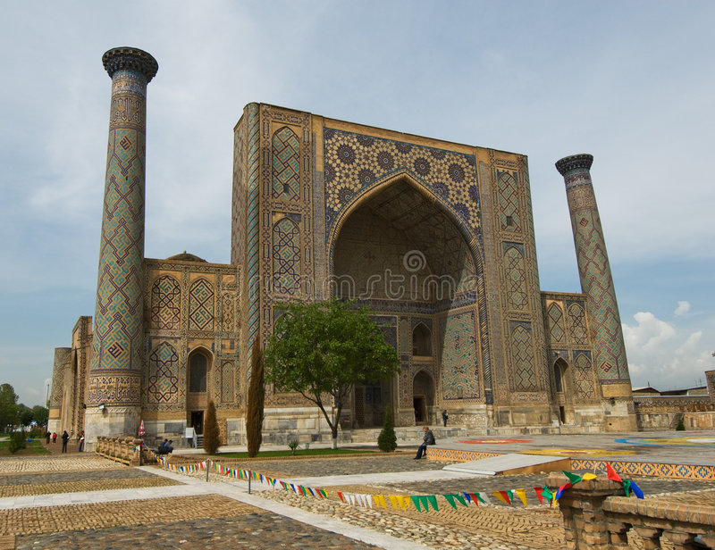 Minarets av Registan, Samarkand arkivbild