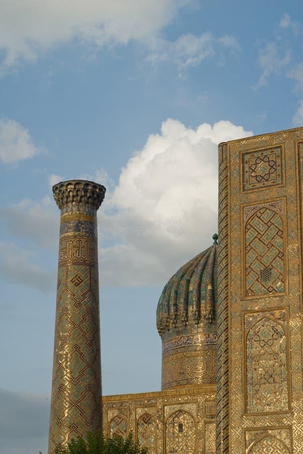 Minarets de Registan, Samarkand image libre de droits