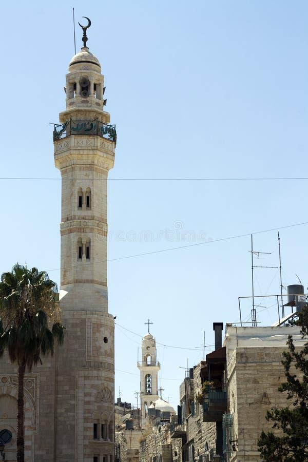 Minarett in Bethlehem stockfotos