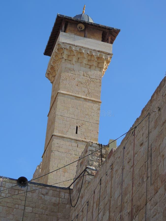 Minarett der Höhle der Patriarchen, Jerusalem stockbilder