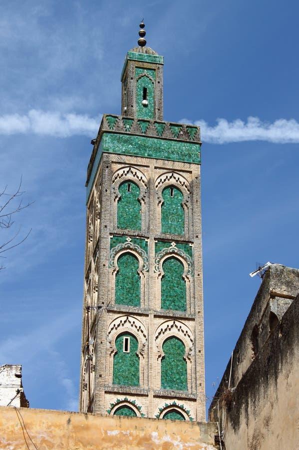 Minarett der Moschee Sidi Ahmed Tijani stockbilder