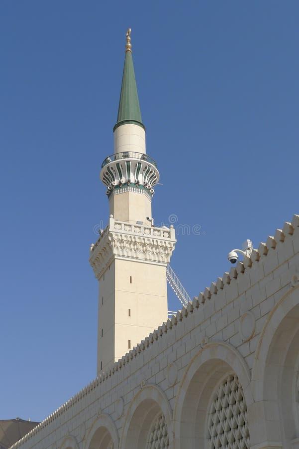 Minarett der Nabawi Moschee stockfotografie