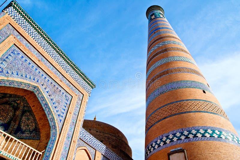 Minarett in Ichan Kala stockbilder