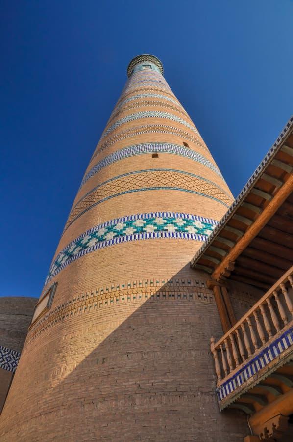 Minarett in Khiva stockfotografie