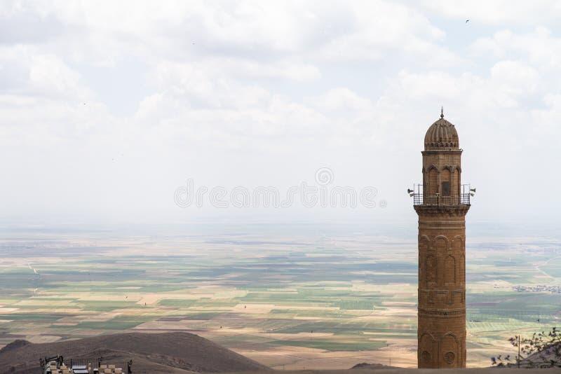 Minarett und Landschaft von Syrien stockfotografie